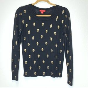 Saks Fifth Avenue Skull Sweater Black/Gold Size M